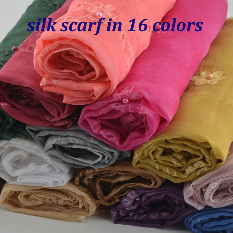 Fashion flower muslim hijab luxury brand silk scarf embroidery shawls with pearls in 16 colors arab
