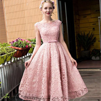 Pink 2017 A Line Cap Sleeves Lace Pearls Tea Length Backless Sexy Homecoming Dresses Special Occasion