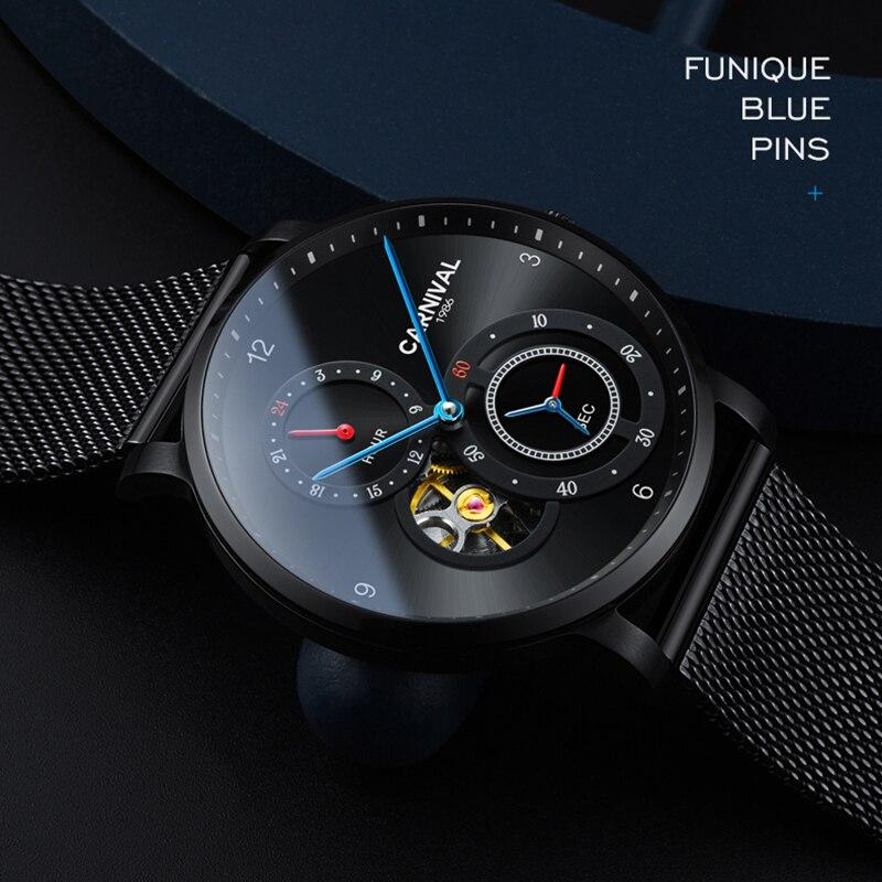 카니발 남자 패션 비즈니스 중공업 다이얼 스틸 시계 밴드 3bar 방수 컨셉 다이얼 자동 자체 바람 기계식 시계-에서기계식 시계부터 시계 의  그룹 3