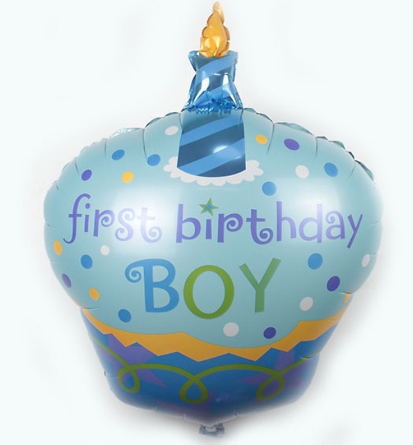 Free 10pcs Helium Balloons Baby BOY First Birthday Decorations Cake Candle Foil Balloon Shower Party Kids