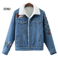 New Winter Vintage Denim Jacket Women Embroidered Lamb Wool Coats Patch Designs Single Breasted Jean Jacket