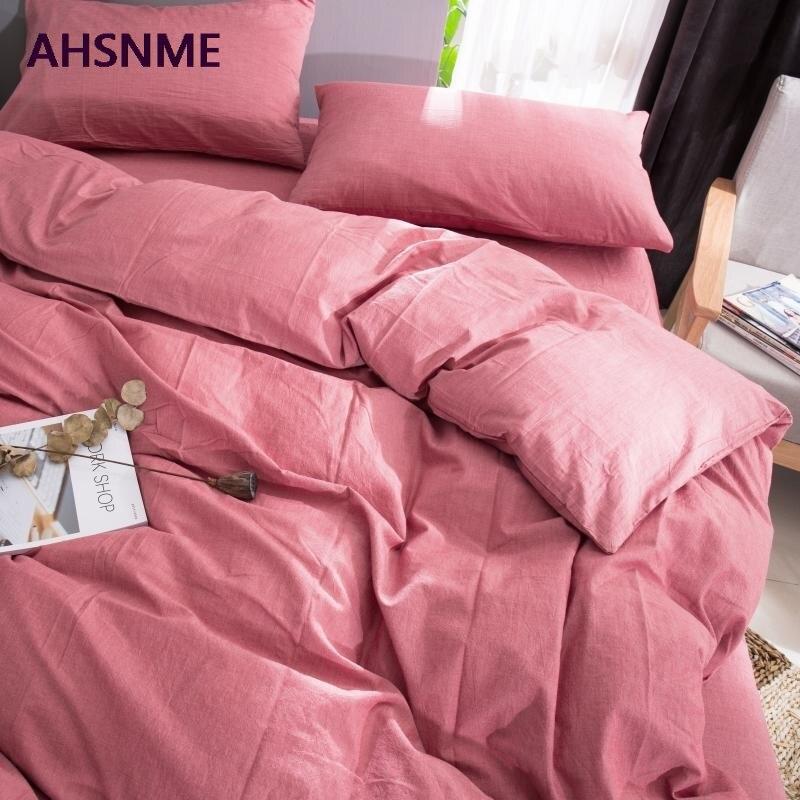 AHSNME 100% coton linge de lit Super doux literie couvre-lit Cool été carmin housse de couette couette ensembles de literie