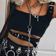 Goth Dark – débardeur gothique pour femme, haut à œillets, boucle, ceinture, Streetwear, Cool, Harajuku, Punk, à la mode, été, 2020