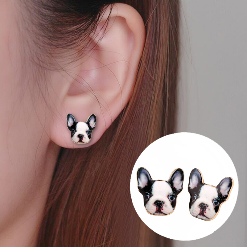 Shuangshuo Fashion Vintage Oil Animal French Bulldog Earrings for