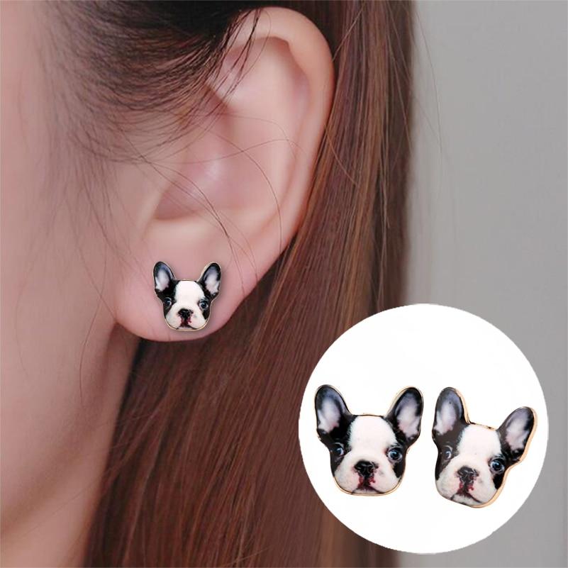 Shuangshuo Fashion Vintage Oil Animal French Bulldog Earrings