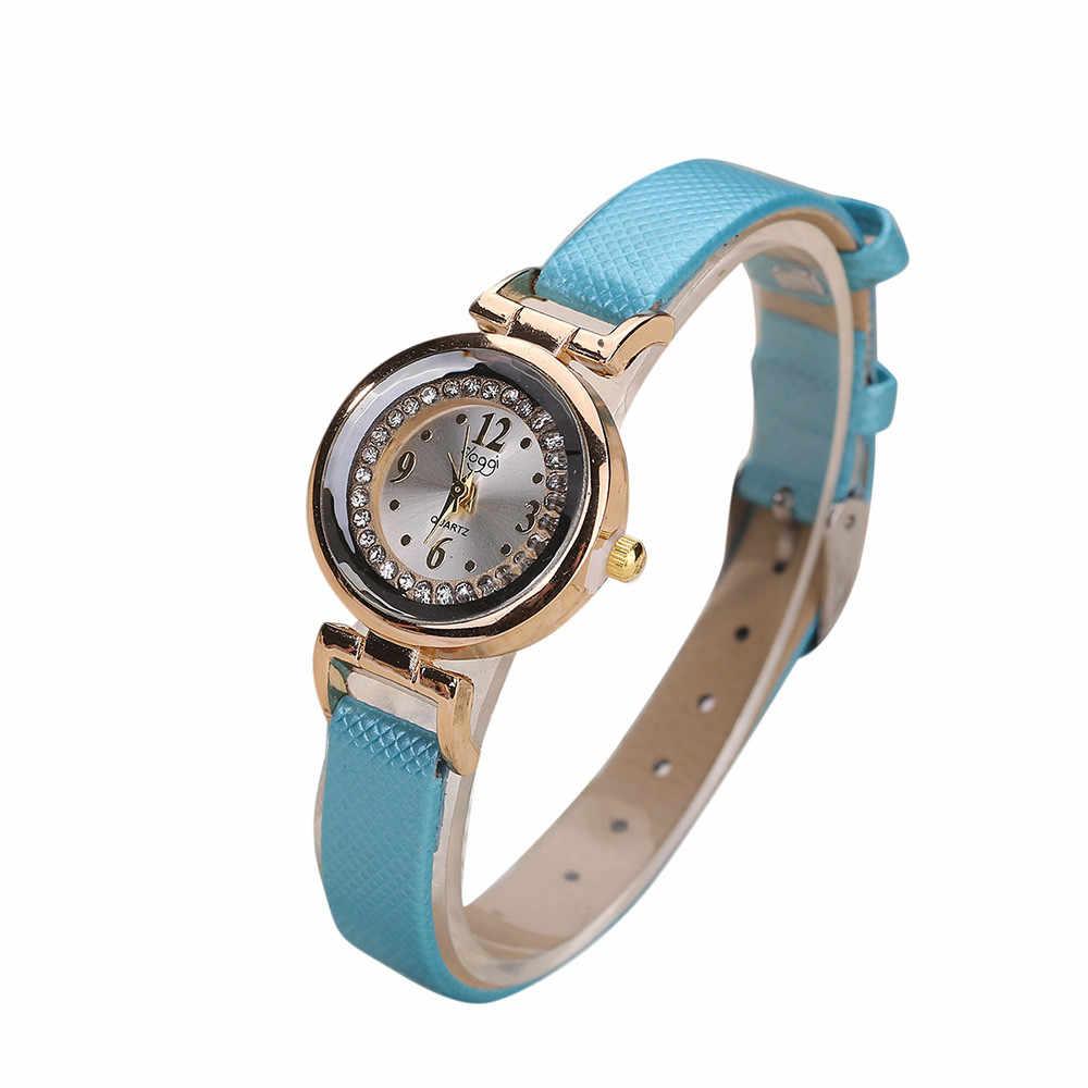 בסדר רצועת עור שעונים לנשים ווג יהלומים קטן חיוג קוורץ יד שעונים גבירותיי מקרית שעון Relojes Mujer Relogio # LH
