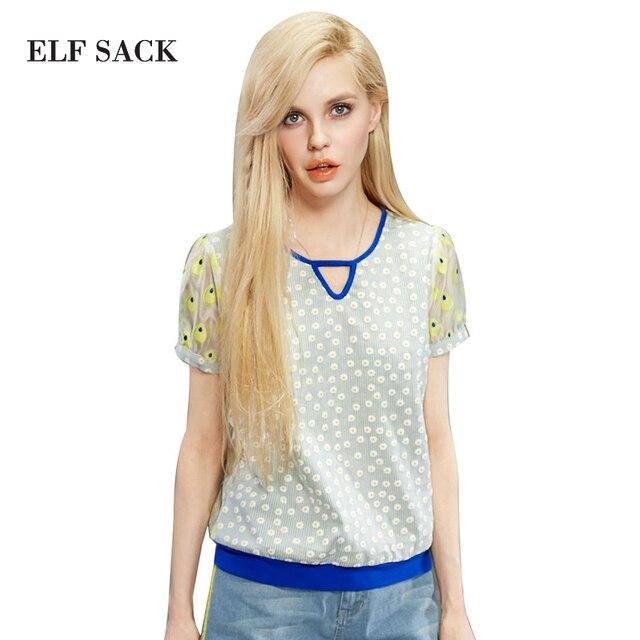 Elf sack marca de moda de la nueva llegada 2015 mujeres del verano de polca de punto remiendo de la impresión camisa de encaje de manga corta de un botón de envío gratis