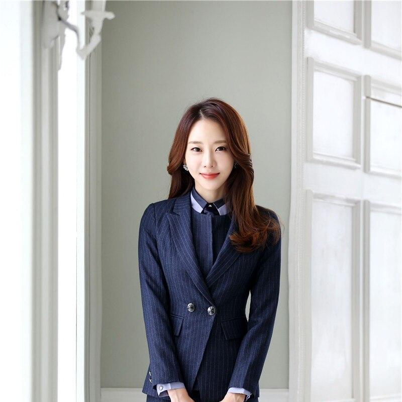 Blazer Outwear Blue Mode Haute black Femelle Grande Manteau Tissu Qualité Dark 1 Veste Pour Bureau Dames Taille Ol De Hauts Zippée Rayé Formelle Styles kZiuPX