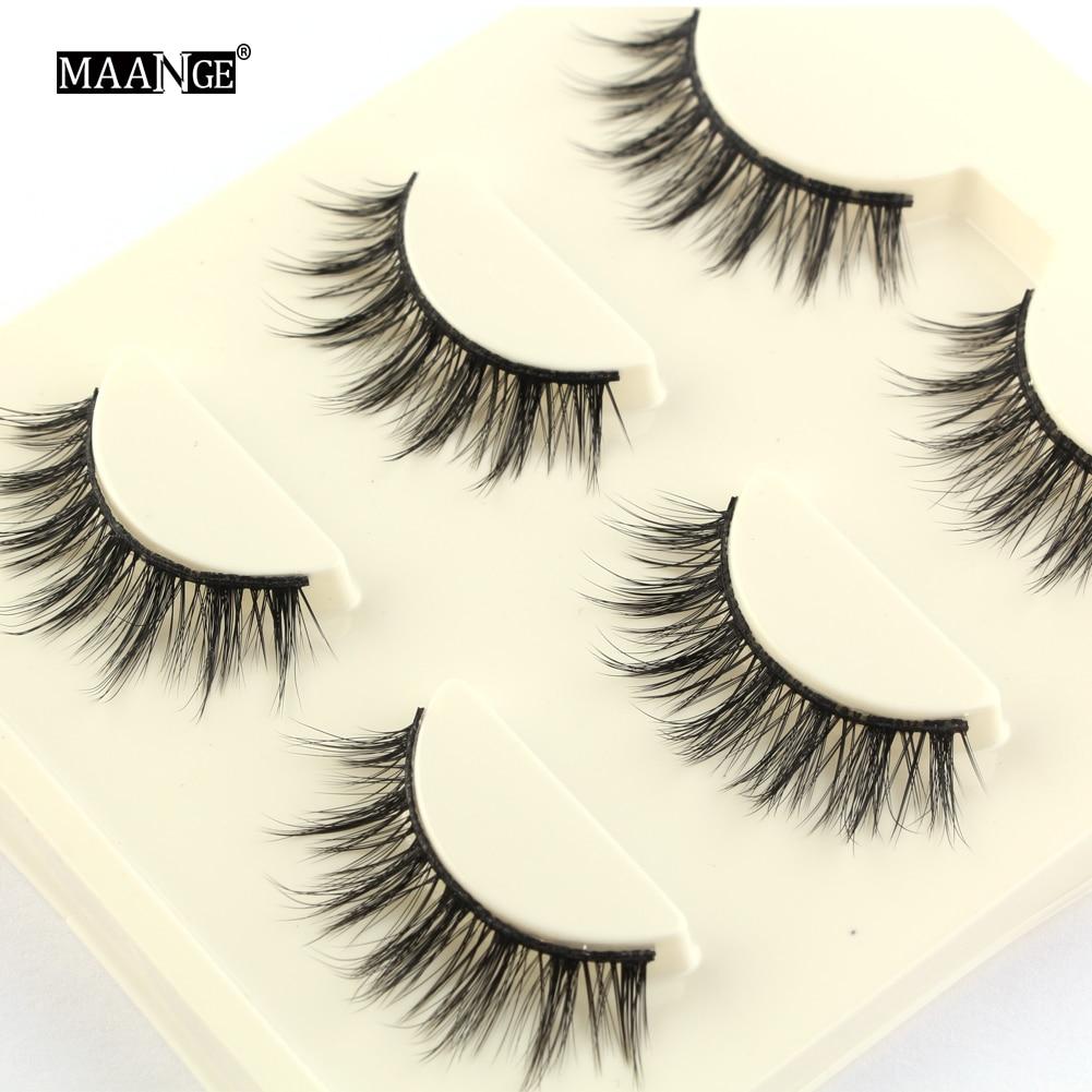 3 Pairs Black Natural False Eyelashes Fake Lashes Long Makeup 3d Mink Lashes Extension Soft Eyelashes for Sexy Beauty
