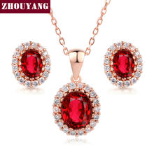 Top Quality ZYS213 Red Crystal Rose Gold Color Jewelry Necklace Earring Set  Rhinestone Made with Austrian Crystals 83c5e86f5b36