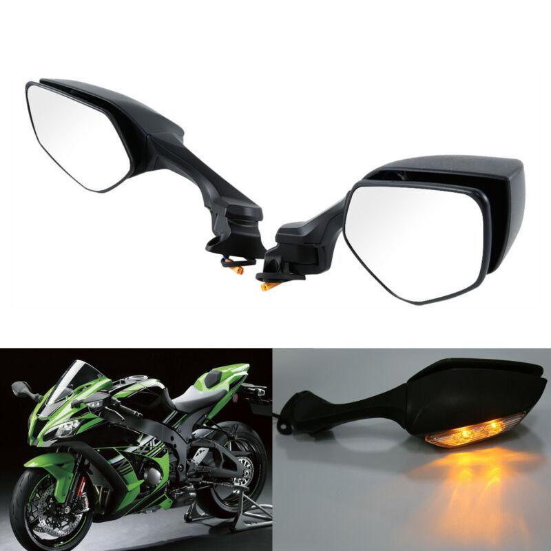 Motorcycle Motorbike LED Rear view Mirrors Turn Signal Light For Kawasaki Ninja ZX10R ZX 10R 16
