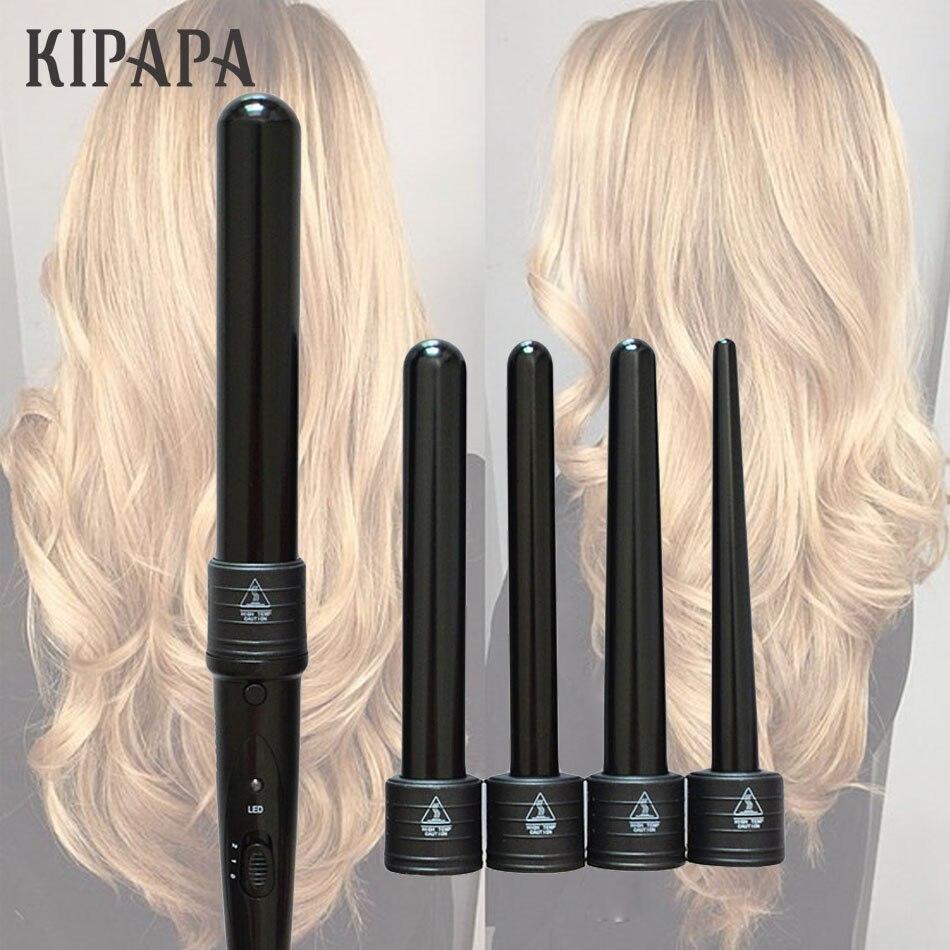 KIPAPA 5 P rizador de pelo rizador 9-32 MM profesional Curl planchas de 0,35 a 1,25 pulgadas de cerámica de estilo herramientas Tong de pelo intercambiable