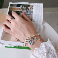Industrial style Women's/Girl's box chain feather bracelets silver cross faith fashion elegant Gift Jewelry for women