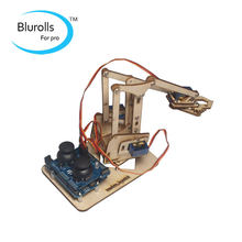 Intellectual development DIY wooden MeArm robotic arm learning full kit DIY MeArm.Joystick educational desktop robot arm kit(China)
