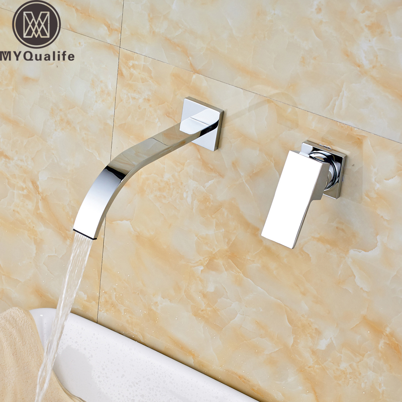 Free Shipping Wall Mounted Waterfall Basin Sink Faucet Chrome Single Handle Dual Holes Bathroom Mixer Tap Chrome Hot Cold Faucet цена