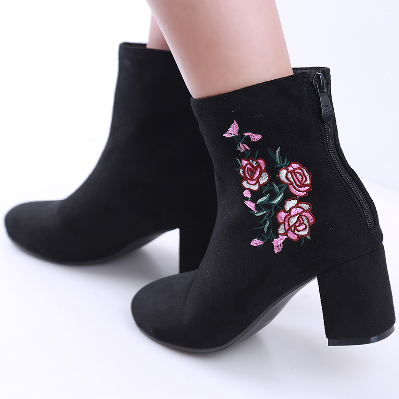 HENGSONG Autumn Winter Women Boots Flowers Embroidery Boots Zip Thick High Heel Round Toe Mid-Calf Boot Ladies Shoe Size 34-44 esveva 2016 sequined platform women boots autumn fashion boots wedges high heel leisure round toe ladies ankle boot size 34 39