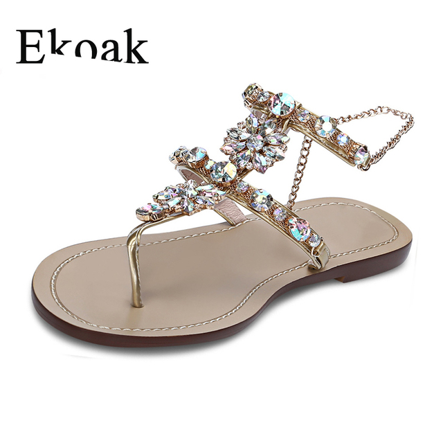 f0e875b3e7311 Ekoak New 2018 Women Sandals Summer Fashion Crystal Party Shoes Woman Flat  Gladiator Sandals Casual Flip Flops Beach Shoes