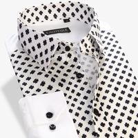 New Fashion Floral Print 100 Cotton Slim Fit Shirts Men S Long Sleeve Casual Dress Male