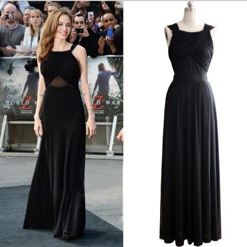 Women Maxi. dress Celebrities Angelina Jolie long evening gown black ...