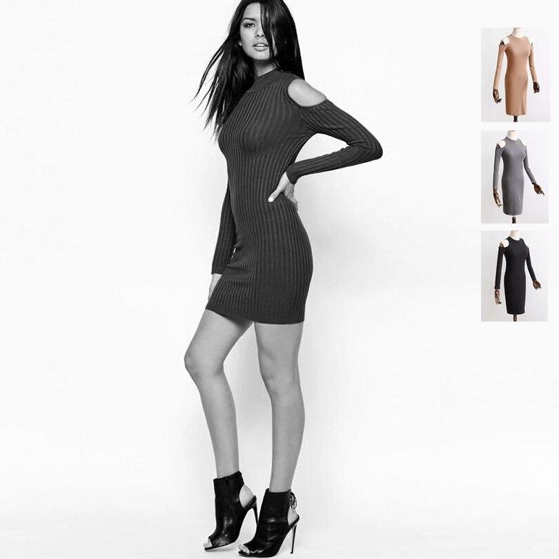 Women Cold Shoulder <font><b>Jumper</b></font> <font><b>Dress</b></font> Slim <font><b>Ribbed</b></font> <font><b>Dresses</b></font> Close-Cut Bodycon Fit Sexy <font><b>Dresses</b></font>