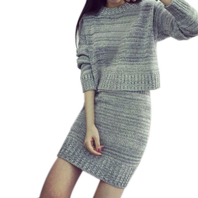 Women Clothing Sweater And Skirt Set Sweet Sweater+Short Skirts Europe Slim Knitted Suit Twinset
