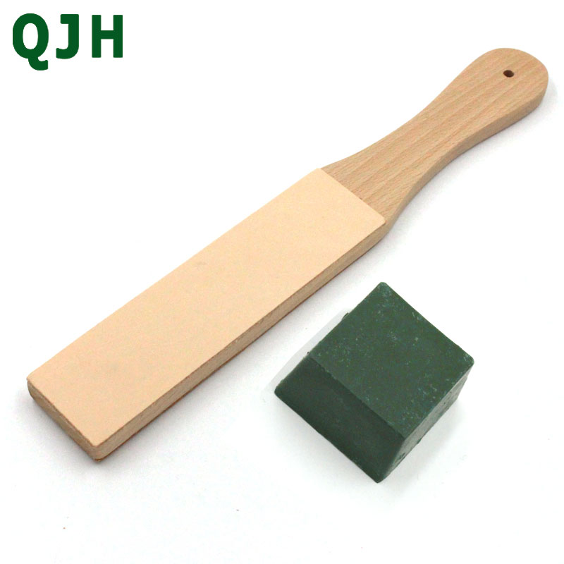 Wood Handle Leather Sharpening Strop Knife Razor Polishing Board With Polish Compound 2 Sided Made From Veg Tanned Cowhide