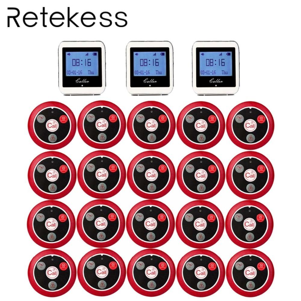 RETEKESS безжичен сервитьор за система за обслужване на ресторанти Пейджър система за гости Пейджър 3 Часовник + 20 бутон за повикване F3288B