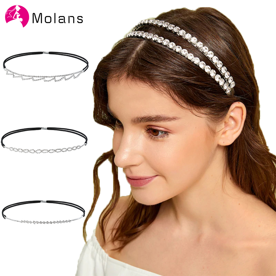 Molans Charming Rhinestone Tiaras Headbands Small Heart Wave Flower Chain Hairbands 1 PC Fashion Luxury Slim Head Bands For Girl