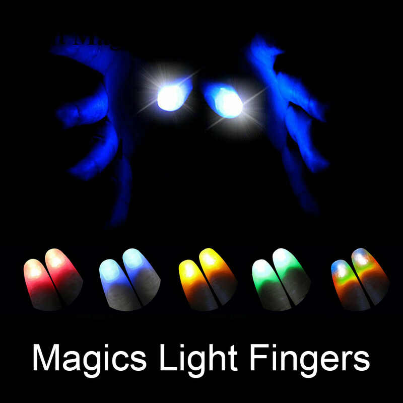 2 Pcs Duimen Led Light Up PVC Party Magic Light Creative Magic Makers Rood Licht Up Thumb Tips met LED kinderen Lichtgevende Geschenken