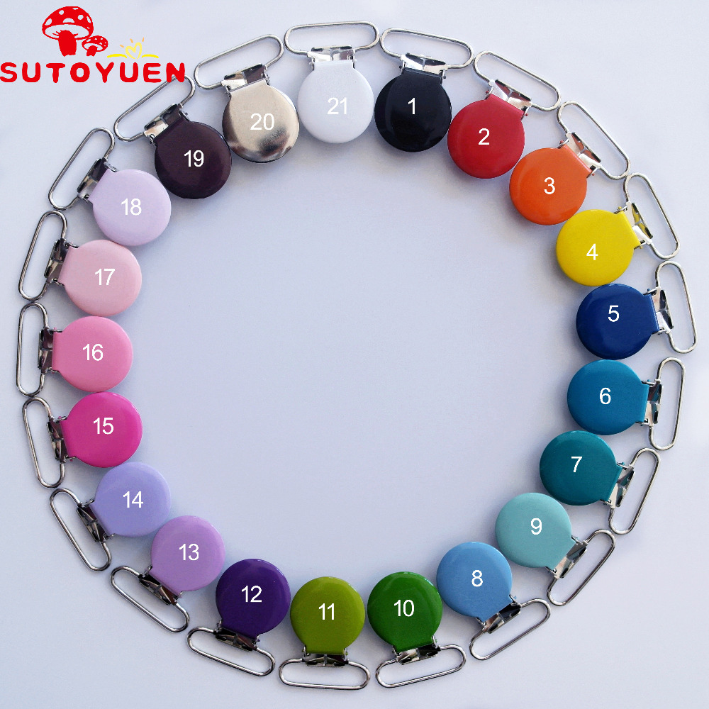SUTOYUEN 30pcs/lot 1'' 25mm Round Metal Suspenders Clip Soothers Holder Clips For Dummy Baby Pacifier Chain Clips Lead Free