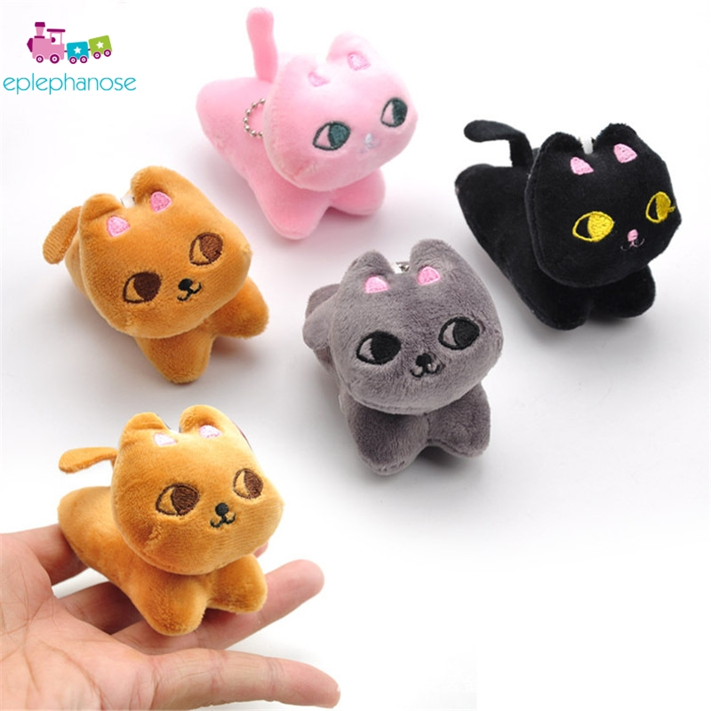 8cm Little Kawaii Stuffed Cat Plush Toys Soft Cats Anime Keychain Animals Small Pendant Keychain Toy Christmas Gifts For Kids