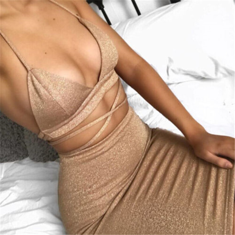 05b43402c6b42 Hot Selling Sexy Women Summer Dress Clothes Sets Hollow Out Bandage Crop  Tops +Mini Skirts Sexy Ladies Evening Party Clothes