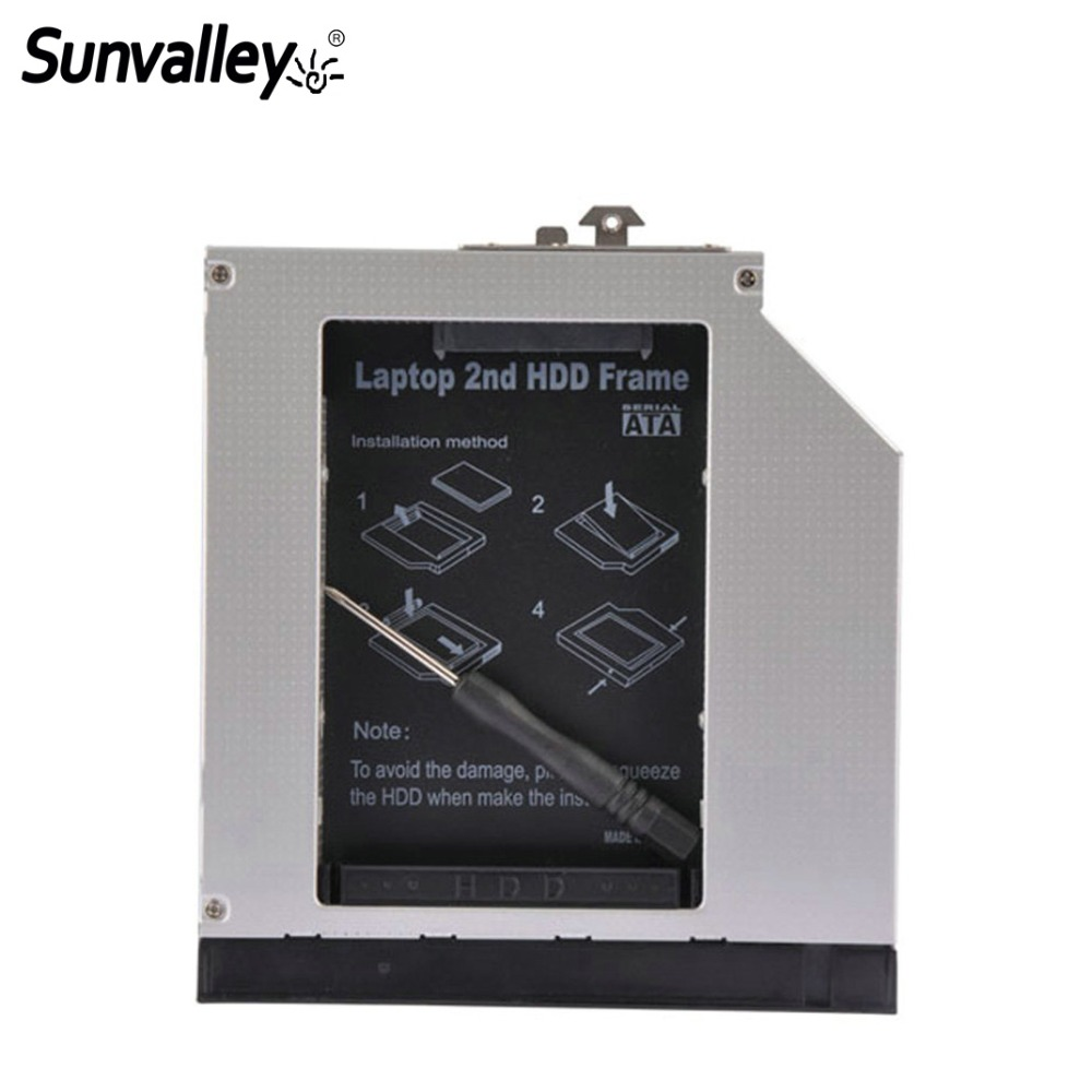 Sunvalley 12.7mm 2nd HDD Alumium Caddy SATA To 2.5 Inch SATA Hrad Disk Drive Enclosure For HP 8560W HD8560W-SS