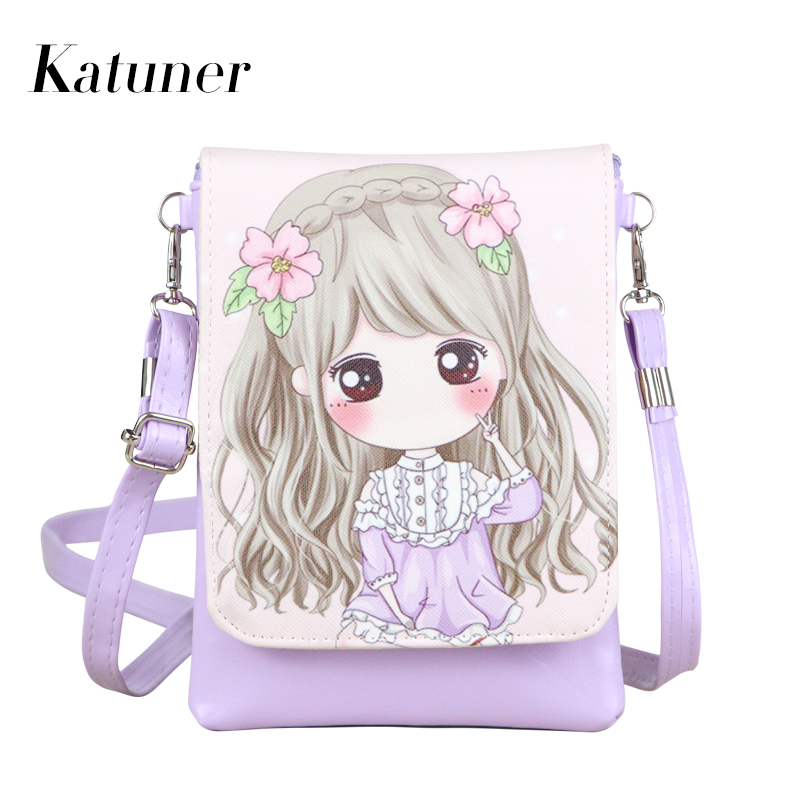 Katuner New Bao Bao Cartoon Crossbody Bags For Women Leather Handbags Girls Children Mini Summer Shoulder Bag Sac A Main KB024 bao bao fashion fresh floral girls shoulder bags female handbag canvas small crossbody bag for women sac a main bolsas b086