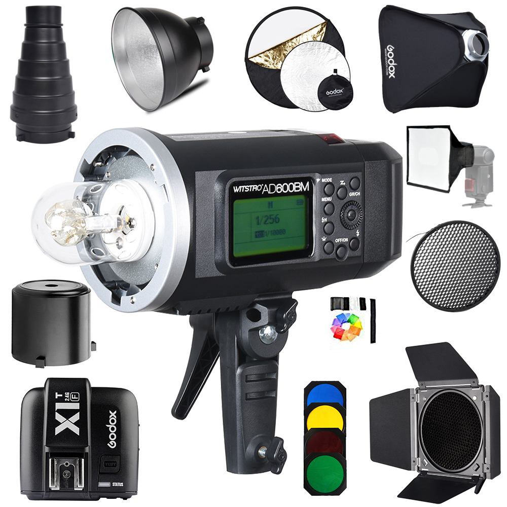 <font><b>Godox</b></font> <font><b>AD600BM</b></font> Bowens Mount 600Ws HSS 1/8000 GN87 Outdoor Flash Strobe Monolight with X1T-F Wireless Trigger for Fujifi+Gift kit image