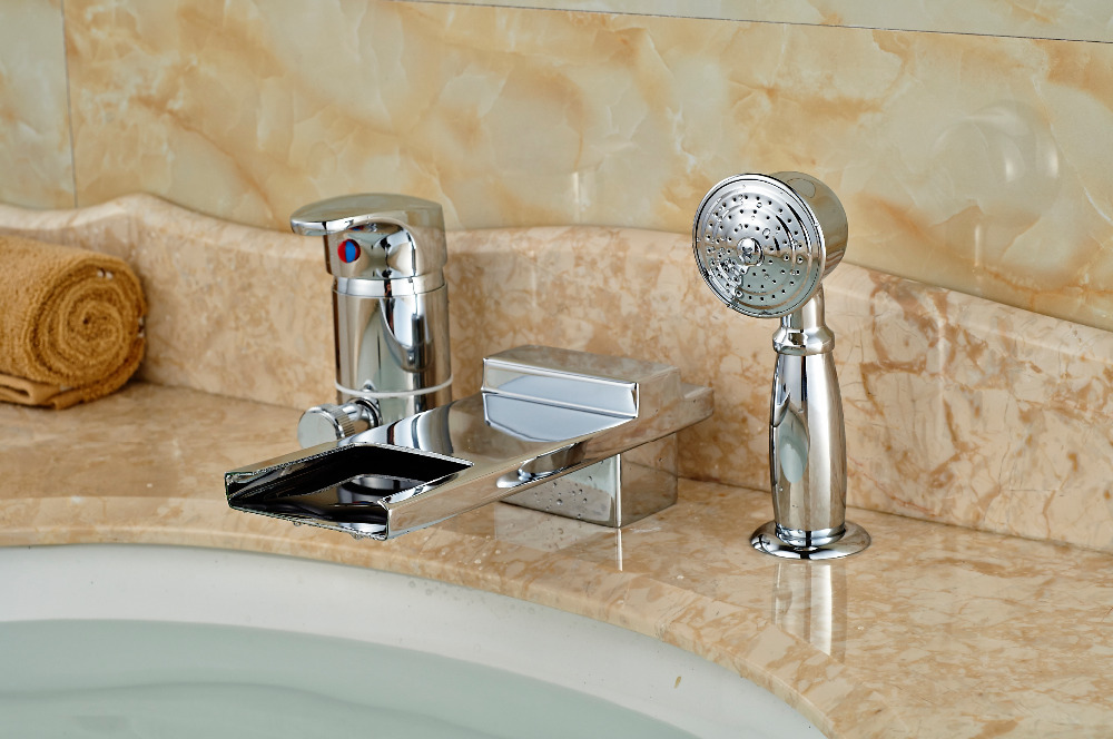 Luxury Square Waterfall Bathroom Tub Faucet 3 pcs Sink Mixer Tap Sinlge Handle hot and cold water