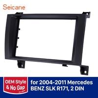 Seicane 2 Din Car Stereo Fascia DVD Radio Panel Frame Kit for 2004 2005 2006 2007 2008 2009 2010 2011 MERCEDES BENZ SLK R171