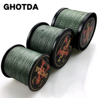 GHOTDA 300M 500M 1000M 8 가닥 PE 꼰 낚시 라인 위장 페이드 컬러 멀티 필라멘트 와이어