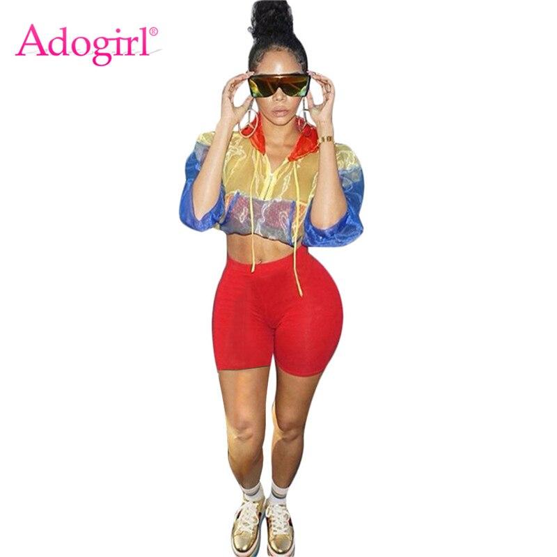 Adogirl Kontrast Farbe Frauen Trainingsanzug Front Zipper Sheer Langarm Mit Kapuze Jacke Crop Top + Shorts Casual 2 Stück Set outfits