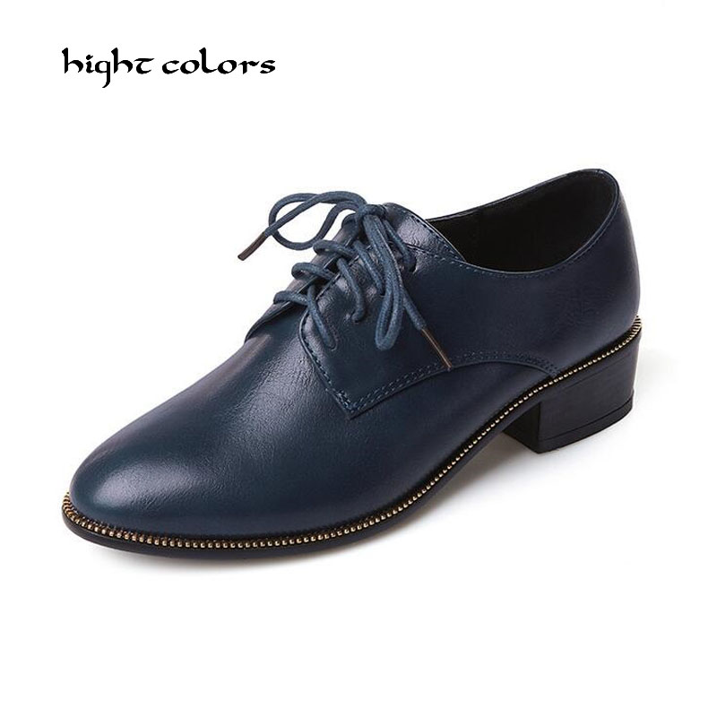 33~43 Size Flats British Style Oxfords Women Spring Soft Leather Oxfords Flat Heel Casual Lace Up Shoes Womens Retro Brogues D51 top quality genuine leather oxfords for women gold sliver mixed colors female british style spring autumn casual flat shoes