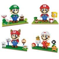 Classic game image micro diamond building block nintendoes super mario bros 3D scenes Squirrel Luigi nanoblock toys for gifts