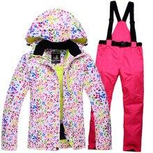 Дешевые Снег Куртки + брюки Женщин Лыжи Сноуборд Одежда 10 К доказательство-30 Дамы Пальто Лыжный костюм Устанавливает зимой на открытом воздухе Снег клиентов