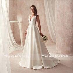 Famous Design Satin Wedding Dress with Pocket V-neck Cutout Side Open Back Bridal Dress Pocket vestido longo de festa 3