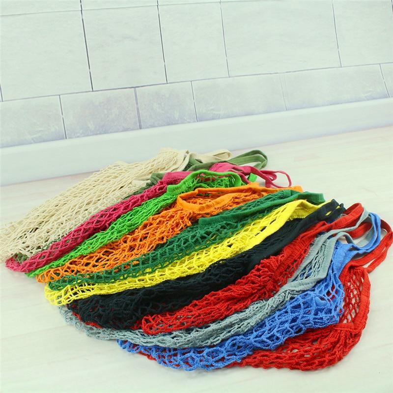 Reusable Fruit Shopping Green Shopping Bag String Grocery Shopper Tote Cotton woven net bag net pocket
