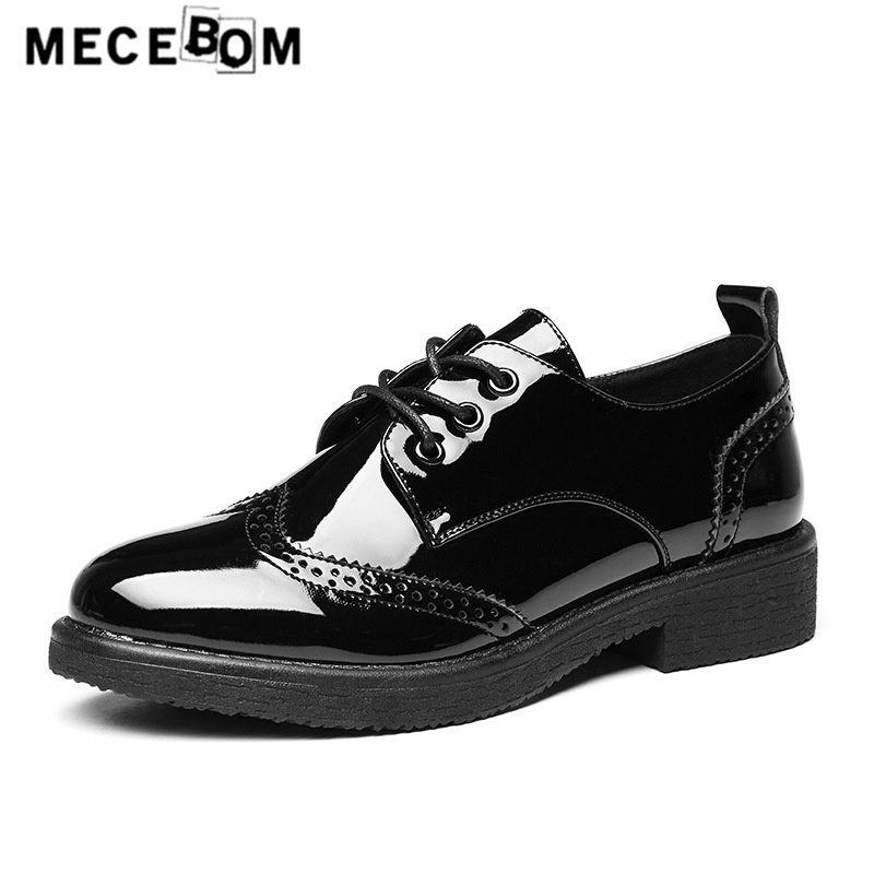 Women's Black Leather shoes fashion Brogue girls shoes lace-up lady casual shoe flats footwear size 35-40 551w lovexss genuine leather brogue shoes black red casual lace up flats 2017 spring autumn fashion patent leather brogue shoes