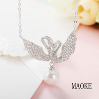 Promotional S925 Sterling Silver Korean Fashion Micro Set Swan Wing Pendant Fashion Jewelry for Women's Fashion Gifts