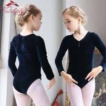 長袖子供バレエダンスレオタードバレリーナパーティーゴールドベルベットダンスウェアの服と幼児