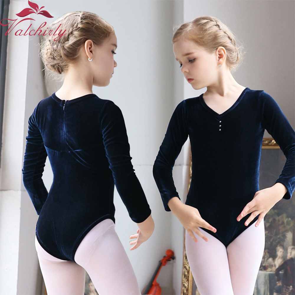 Long Sleeves Kids Ballet Dance Leotard Ballerina Party Gold Velvet Dancewear Clothes For Girls And Toddlers