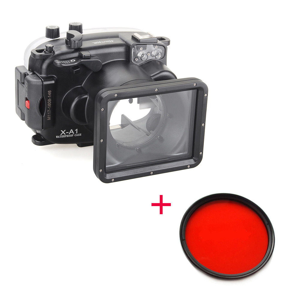 Meikon 40m/130ft Waterproof Housing Case + Red Filter 67mm for Fujifilm X pro2(16 50mm),Underwater Diving Camera Housing Bags