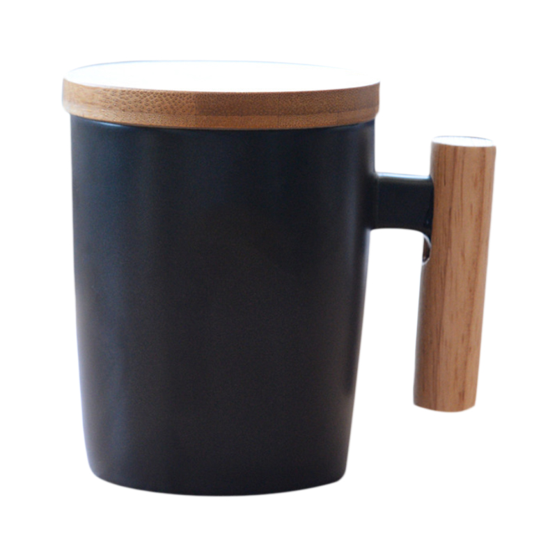 Japan Style Brief Travel Coffee Mug Ceramic Porcelain Milk Mug Coffee Cup With Wood Handle Lid Pottery Water Tea Cups Gift